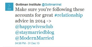 Gottman Twitter Recommendation Relationship and Marriage Advice